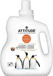 ATTITUDE Natural Laundry Detergent, 2x Concentrated, Non-toxic, Hypoallergenic, ECOLOGO Certified, Citrus Zest, 60.8 Fluid Ounce, 36 Loads