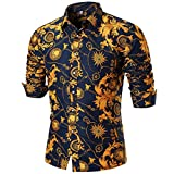 Allywit Men's Printed Polo Shirt Long Sleeve Slim Fit Business Dress Shirt Top (Multicolor, M)