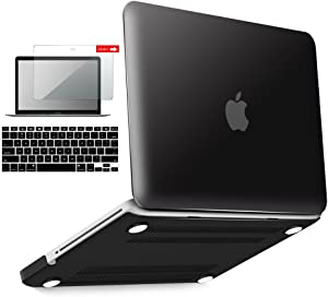 IBENZER MacBook Pro 13 Inch case A1278 Release 2012-2008, Plastic Hard Shell Case with Keyboard & Screen Cover for Apple Old Version Mac Pro 13 with CD-ROM, Black, P13BK+2A