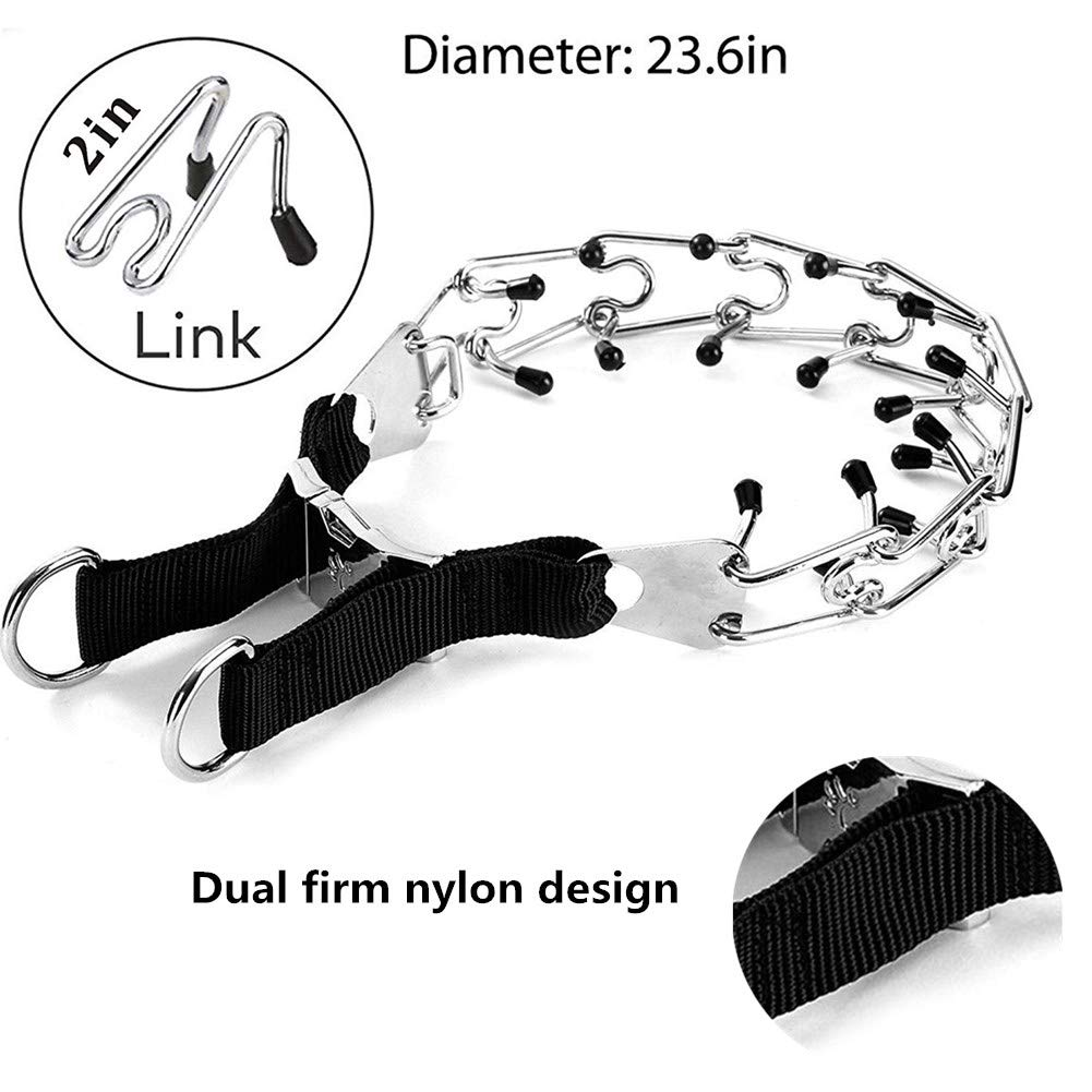 Adjustable Stainless Steel Pinch Collar with Rubber Caps and Dog Training Clicker for Medium and Large Dogs Training VCZONE Dog Prong Collar