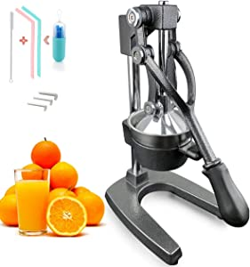 Cast Iron Juice Press Juicer Extra Large Heavy Duty Commercial CitrusLime Grapefruit Juice Stainless Steel Extractor Cast Iron Body - Bonus 2 Silicone Straws Drinking Reusable(Gray)