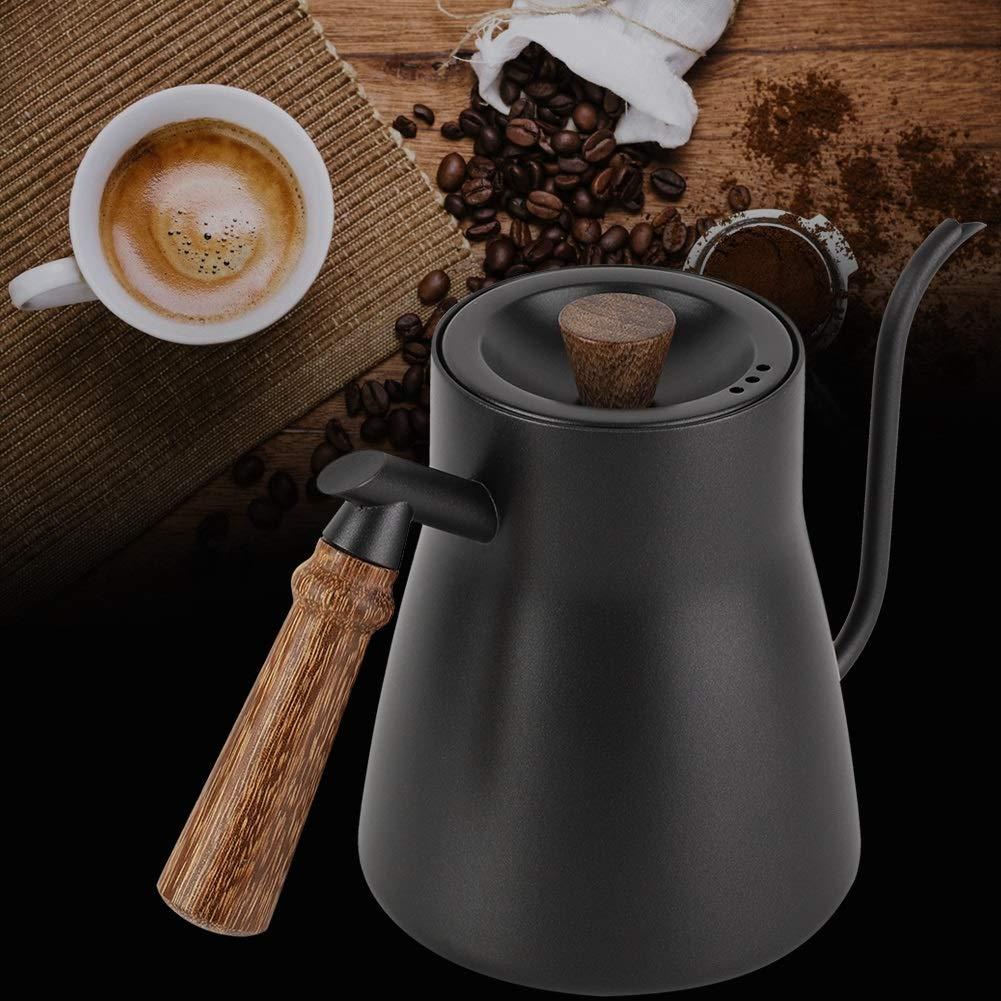 Bouilloire /à caf/é en acier inoxydable de 850 ml avec col de cygne et manche en bois avec thermom/ètre Bouilloire /à col de cygne