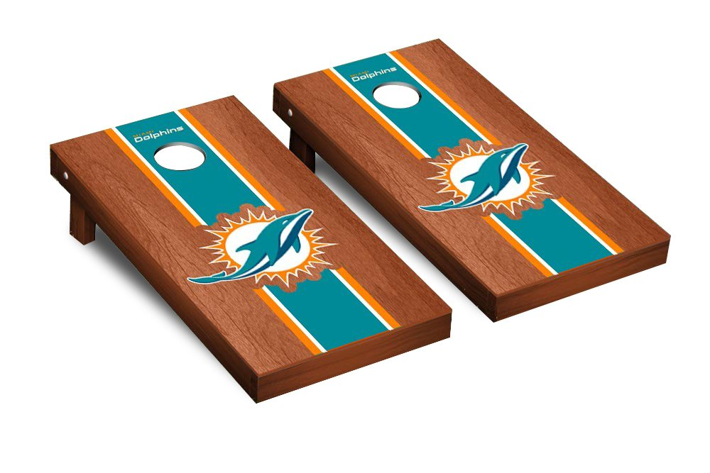 NFL Miami Dolphins Rosewood Stained Stripe Version 2 Football Corn hole Game Set, One Size