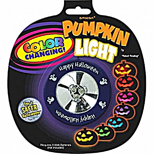 Colour Changing Pumpkin Light Halloween Trick or Treat Party Pumpkin Carving Decoration, Plastic, 2