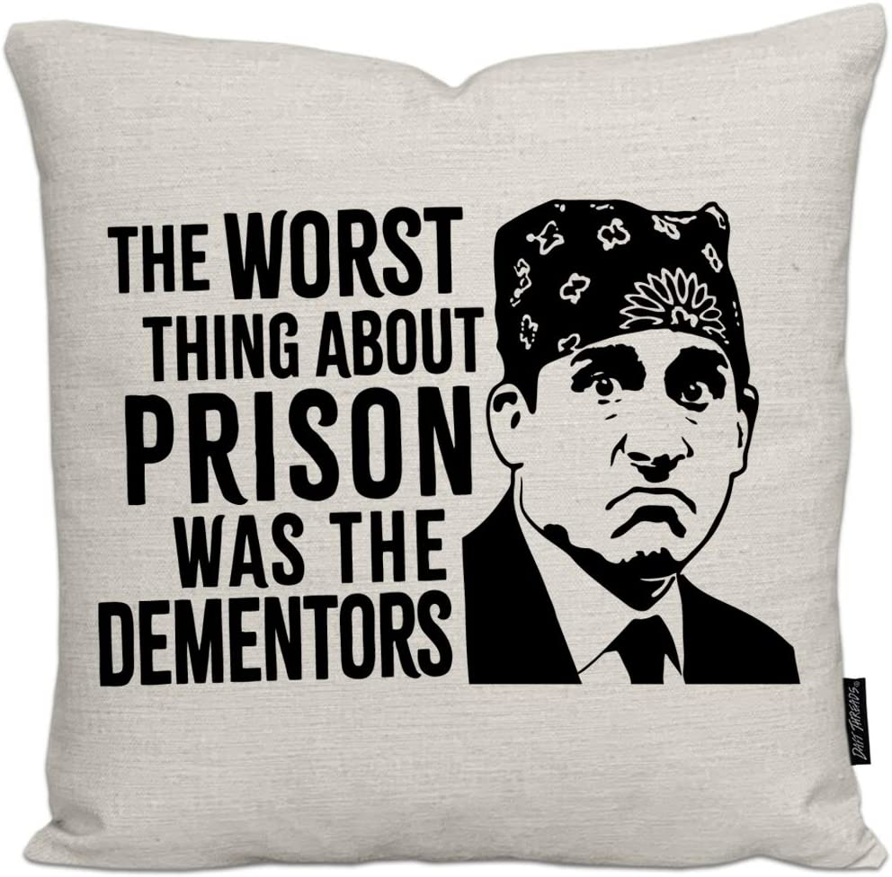 Daft Threads Funny Office Linen Throw Pillow Cover 18x18 inch (Prison Mike The Dementors)