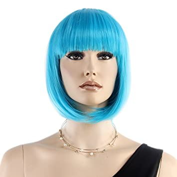 "Stfantasy Bob Wigs for Women Short Straight Heat Resistant Synthetic Hair 12"" 110G with Bangs"