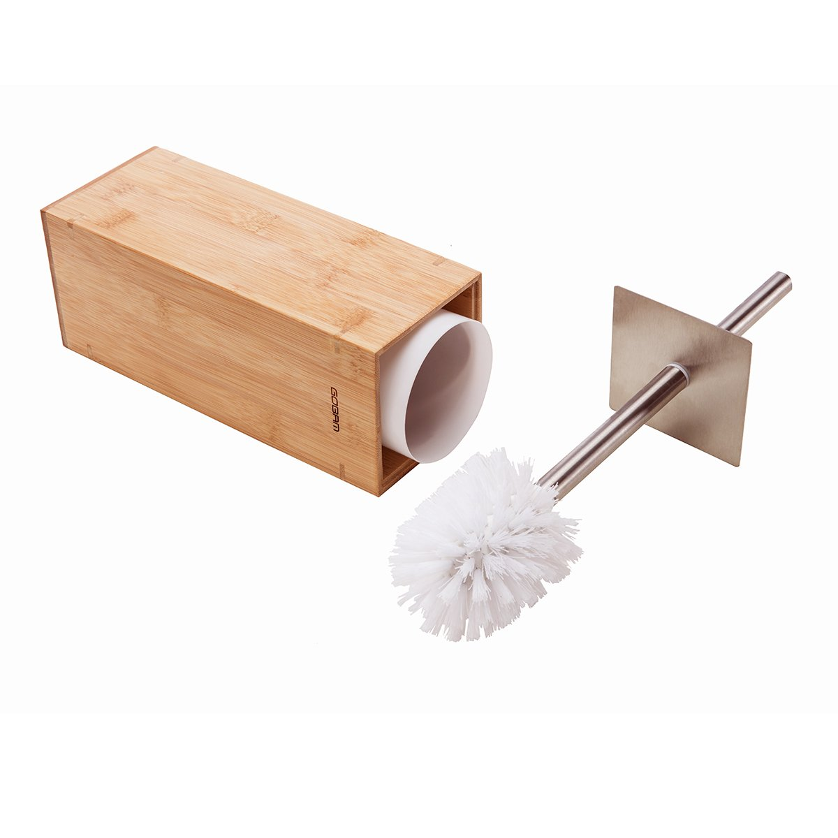Gobam Toilet Brush with Holder Stainless Steel Handle and Lid for All Toilet Types with Sanitary Storage,Square Bamboo