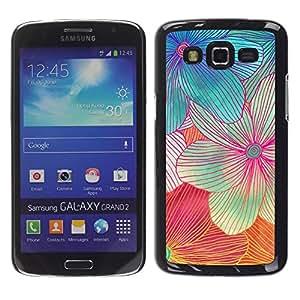 FECELL CITY // Duro Aluminio Pegatina PC Caso decorativo Funda Carcasa de Protección para Samsung Galaxy Grand 2 SM-G7102 SM-G7105 // Handmade Flower Art Colorful Sweet