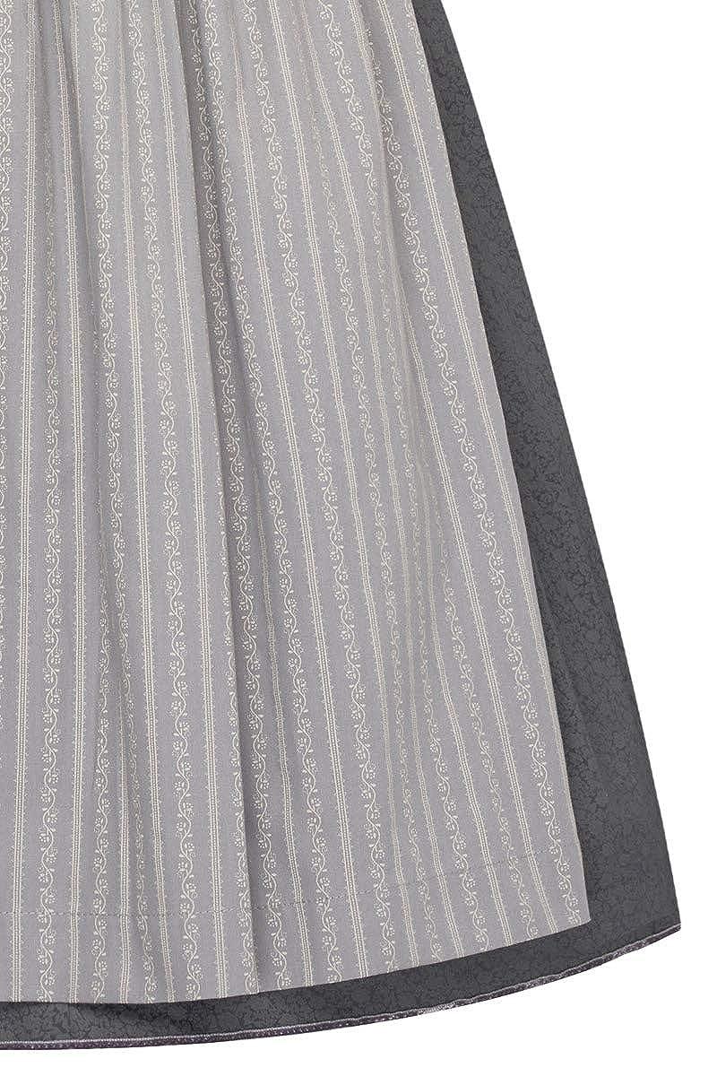 Lieblingsgwand Midi Dirndl 65 cm anthrazit grau Gemustert Viona 007375 Retro-Dirndl Blumenmuster Elegante Samtborte ailtsilberne Trachtenkn/öpfe