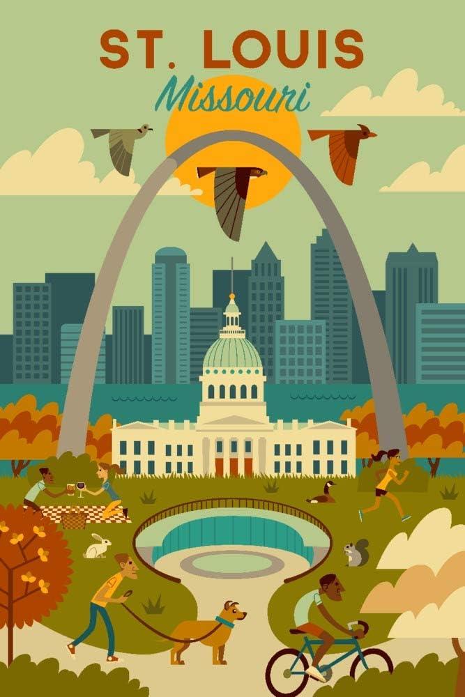 St. Louis, Missouri, Geometric National Park Series 111501 (9x12 Art Print, Wall Decor Travel Poster)