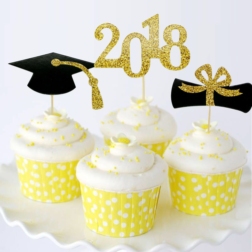 YuBoBo 2018 Graduation Cupcake Toppers, Food/Appetizer Picks For ...