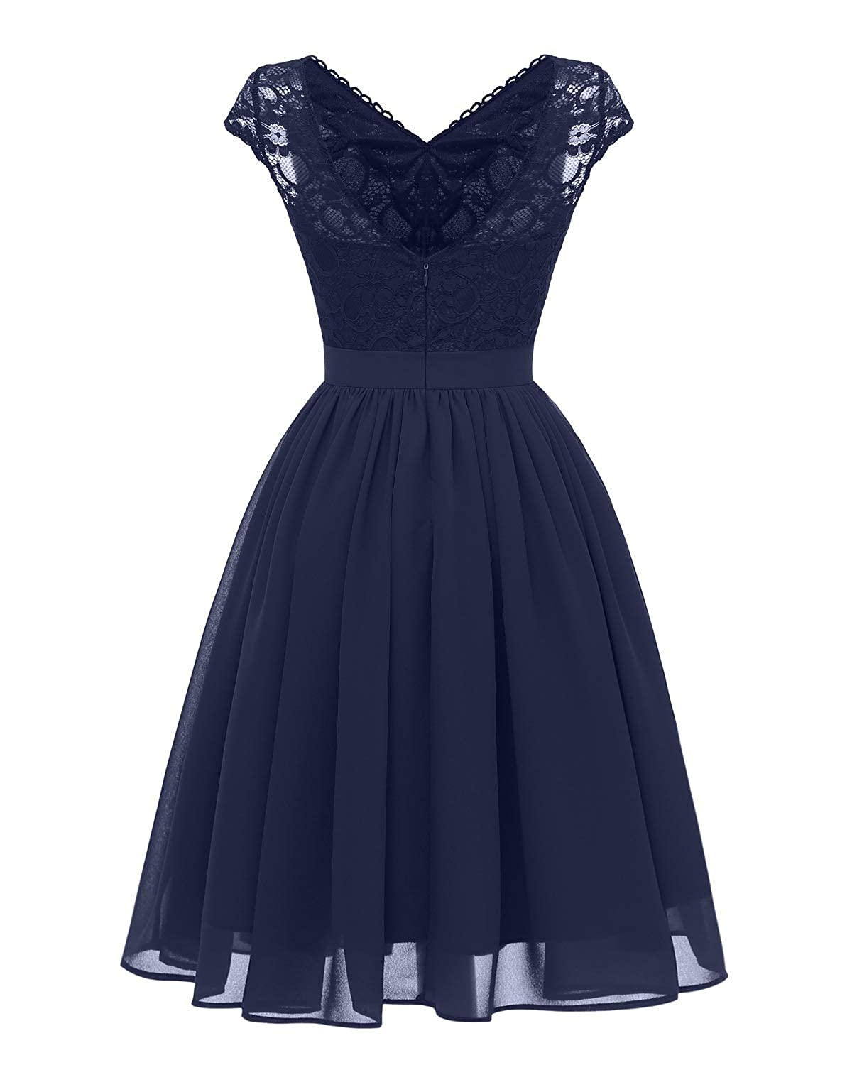 Navy bluee Zooka Dress Women Summer Solid Short Sleeve Lace Hollow Out Elegant Casual Party Dress