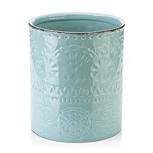"""LIFVER Fine Embossed Ceramic Crock Utensil Holder, 7.2"""" x 6.2"""", Blue"""