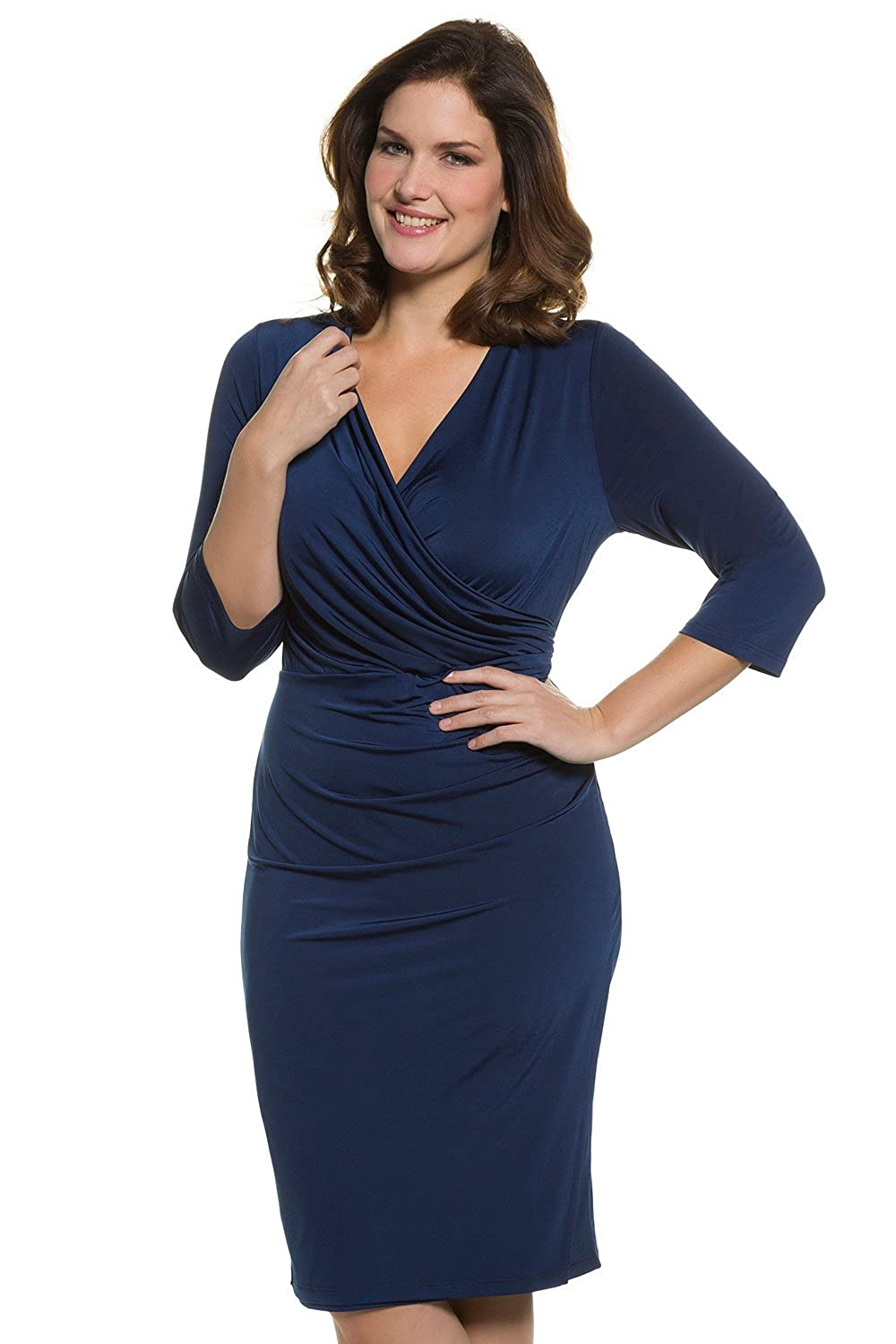 Ulla Popken Women's Plus Size Sexy Faux Wrap Dress 704618
