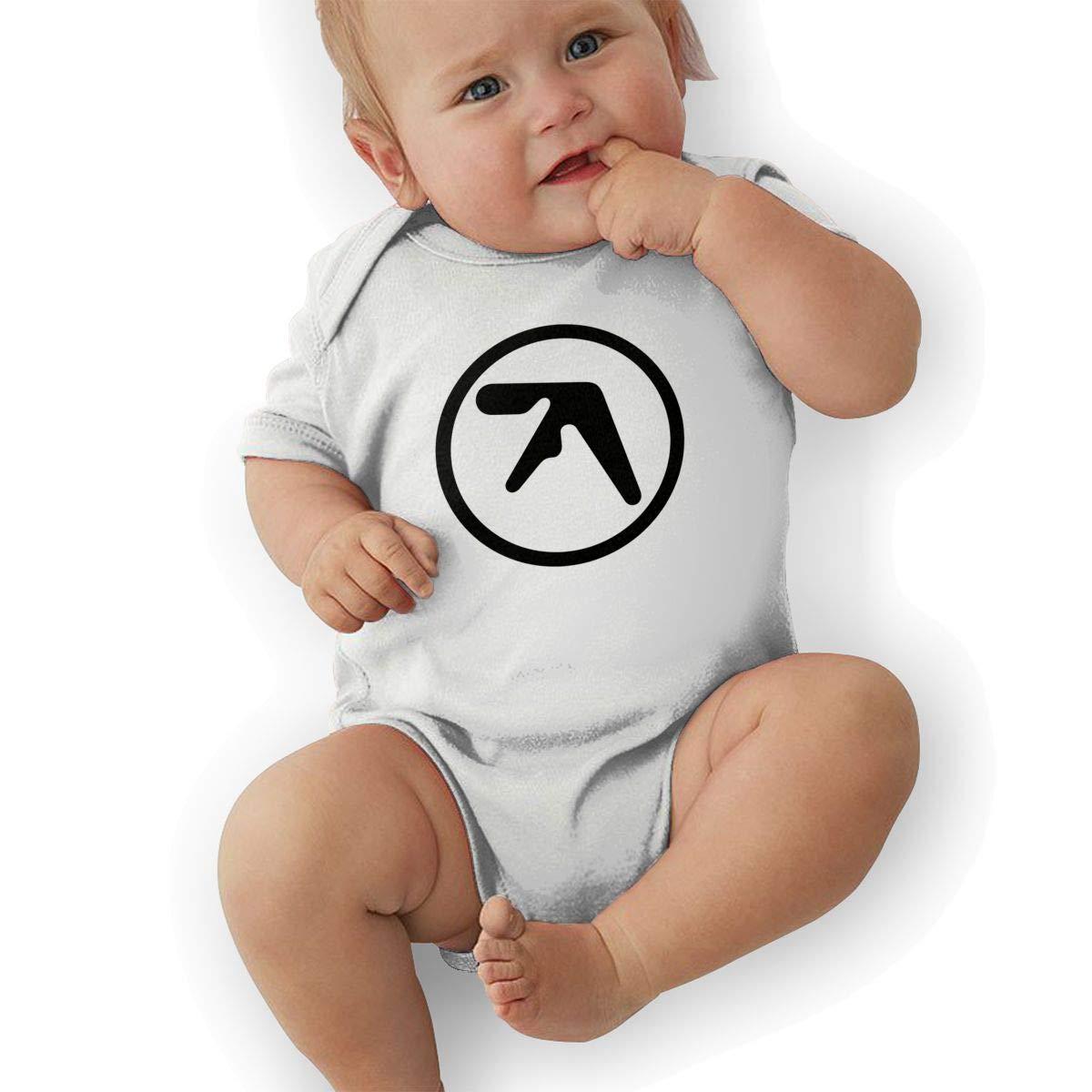 LuckyTagy Aphex Twin Logo Unisex Funny Newborn Baby Romper Baby GirlOutfits White