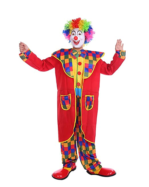NiSeng Disfraz de Payaso de Circo Adultos con Capa Trajes de payasa Checkered Payasos para cumpleaños Disfraz Halloween Hombre