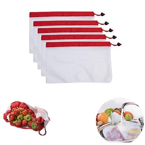 SUSHAFEN 5 bolsas de malla reutilizables para la compra de ...