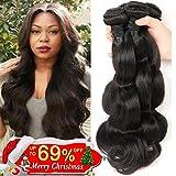 Bestsojoy Brazilian Virgin Hair Body Wave 4 Bundles 8A Unprocessed Remy Human Hair Weave Natural Color (20 22 24 26)
