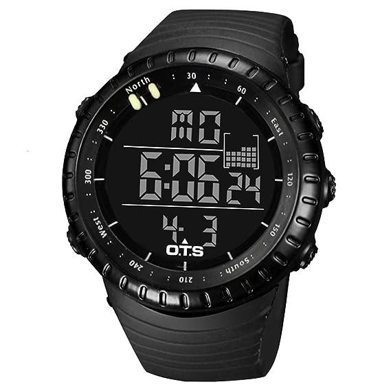 Panegy - Reloj Digital Deportivo Alarma Cronómetro Impermeable multifuncional para Hombre Chico Estudiantes - Negro: Amazon.es: Relojes