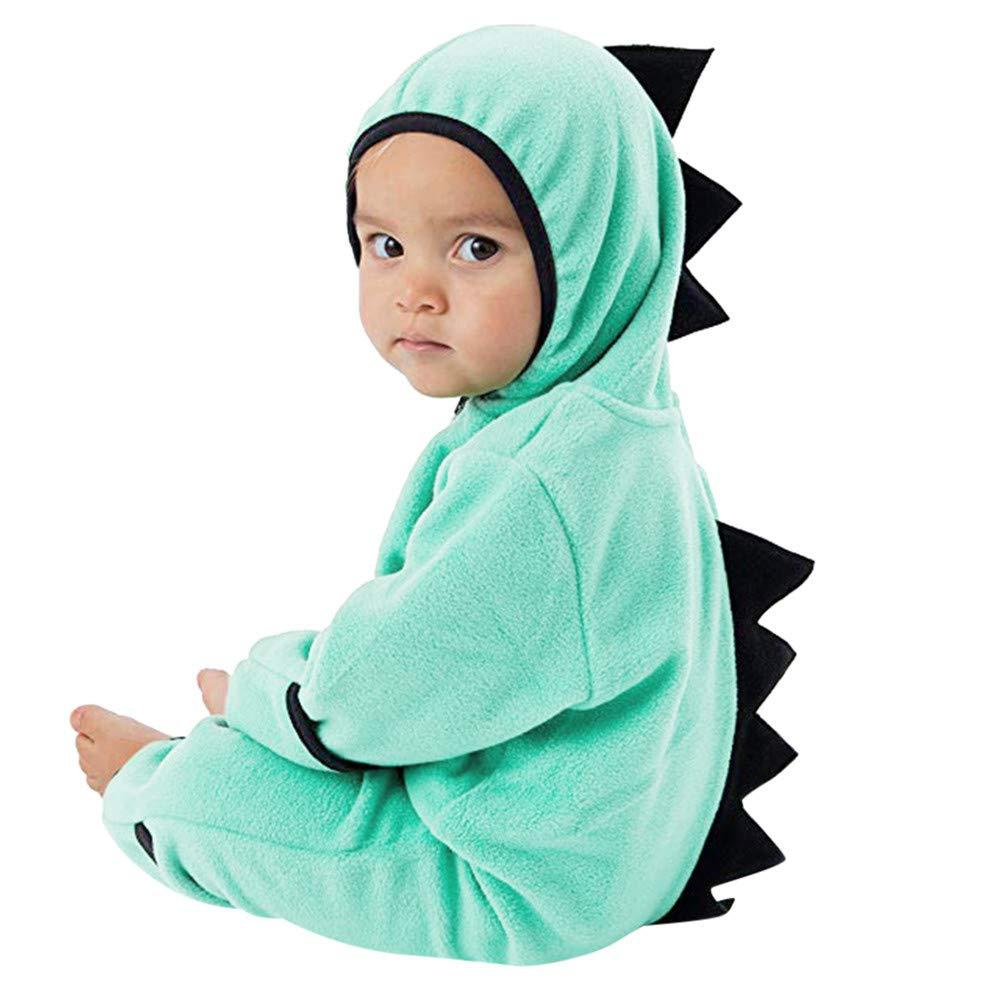 KaiCran Toddler Baby Dinosaur Hoodie Romper Boys Girls Winter Cute Cotton Climbing Jumpsuit Clothes