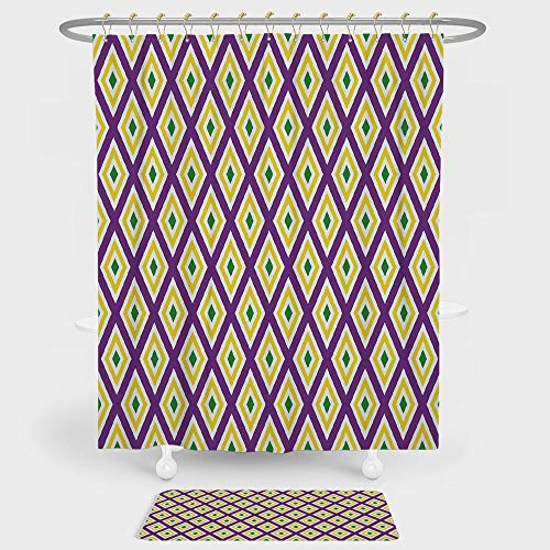 iPrint Mardi Gras Shower Curtain And Floor Mat Combination Set Classical Diamond Line Rhombus Pattern in Traditional Carnival Colors Decorative For decoration and daily use Purple Yellow Green