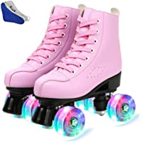 Outdoor Womens Classic Roller Skates Indoor and Rink Skating- Flash Classic High Cuff with Adjustable System White Non-Flash Round Shoe Bag,39 Premium Double Row Rink Skates
