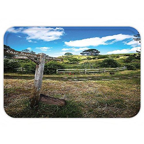 VROSELV Custom Door MatHobbitRustic Wooden Sign in Hobbit Land East West Farthing Movie Set New Zealand The Shire Decor Green Brown (Outdoor Zealand New Furniture Plastic)