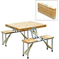 Wooden Camping Picnic Folding Table Bench