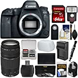 Canon EOS 6D Mark II Wi-Fi Digital SLR Camera Body with 75-300mm III Lens + 64GB Card + Backpack + Flash + Battery & Charger Kit