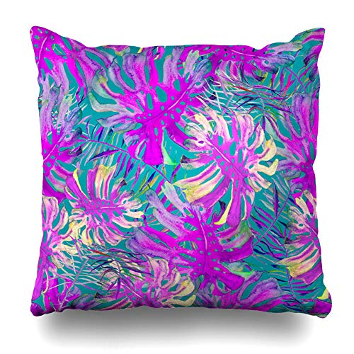 Ahawoso Throw Pillow Cover Leaf Blue Botanical Watercolor Monstera Palm Nature Brazil Cool Cute Exotic Feminine Design Summer Home Decor Cushion Case Square Size 20