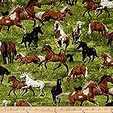 Fabri-Quilt Run Free Horses Fabric by the Yard, Multi