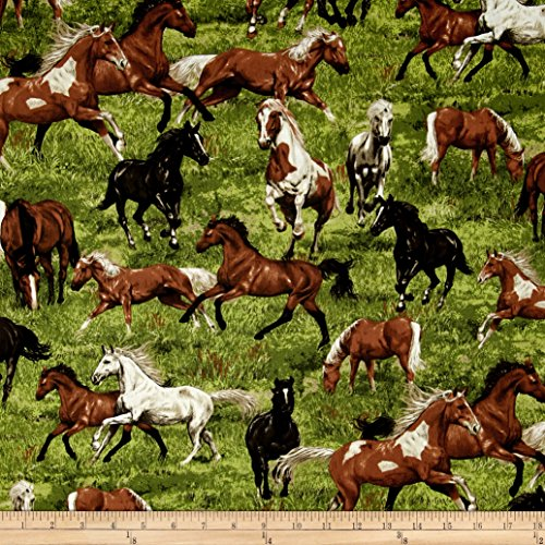 Fabri-Quilt Run Free Horses Multi Fabric by The - Fabric Quilt Horse