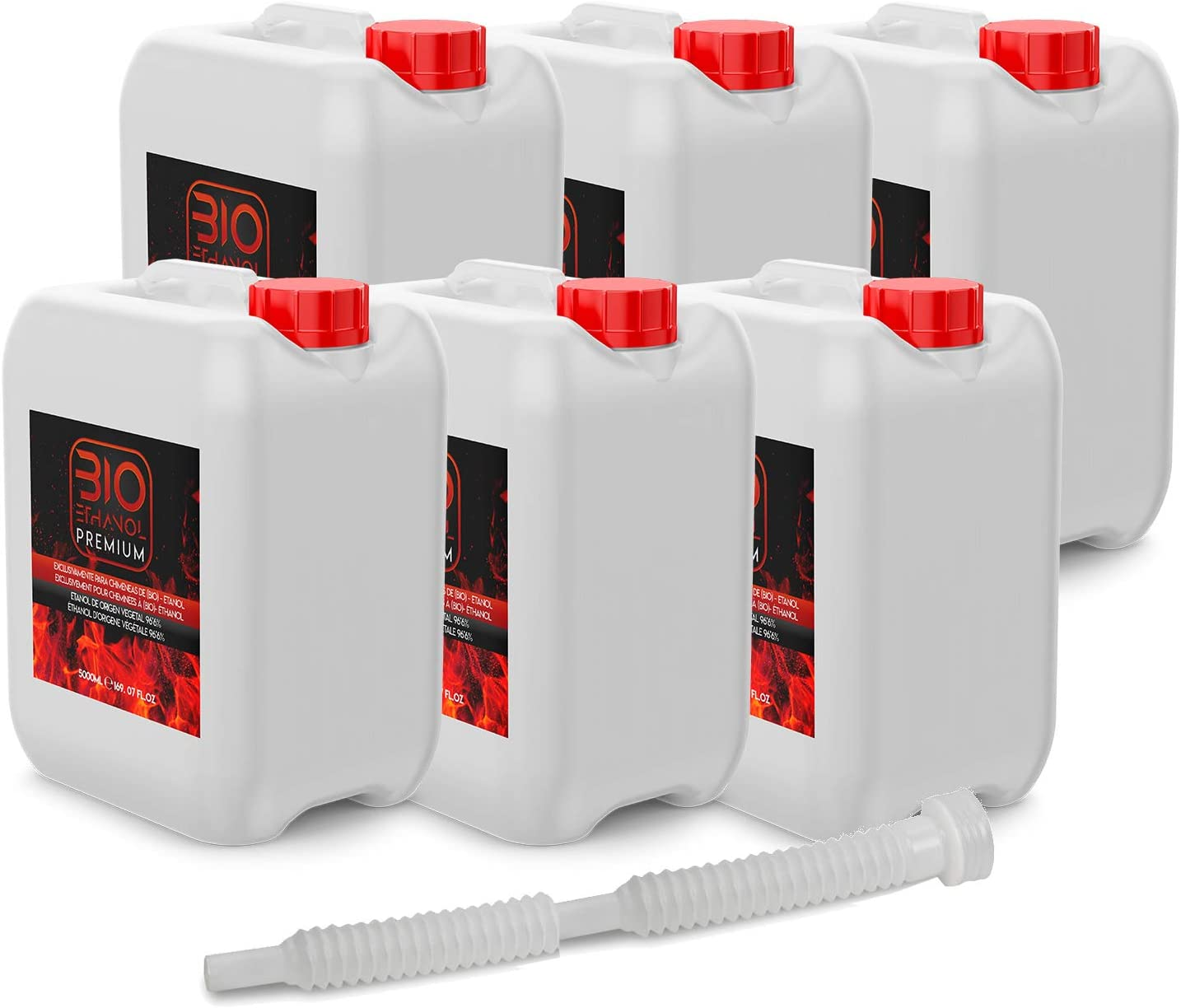 6 x 5 Litros Bioetanol Premium con Embudo - Etanol Vegetal para chimeneas - 30 Litros Combustión de alta calidad no humos