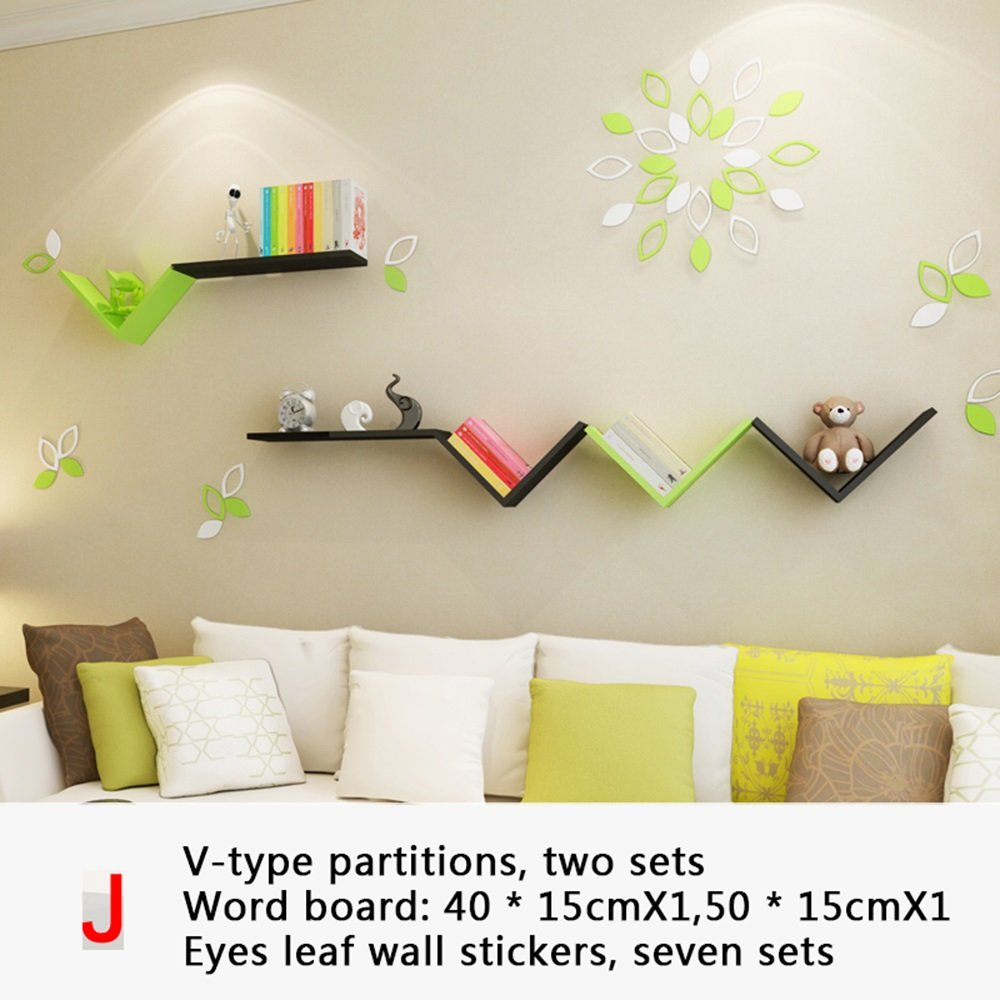 ALUP- クリエイティブなバッフルの壁の棚、単純な近代的なペイントの壁掛けラック、居間の寝室のV型シェルフ ( 三 : H h ) B07C2P5RYN  H h