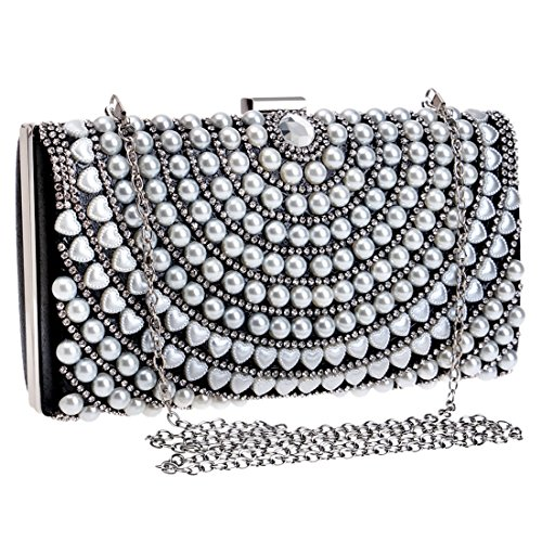 Argento Banquet American New Borsa Colore Pearl e Ladies Messenger Vola Bag sera European Luxury Fashion Nero da Bag Bag Luxury Clutch Dinner tRw4v