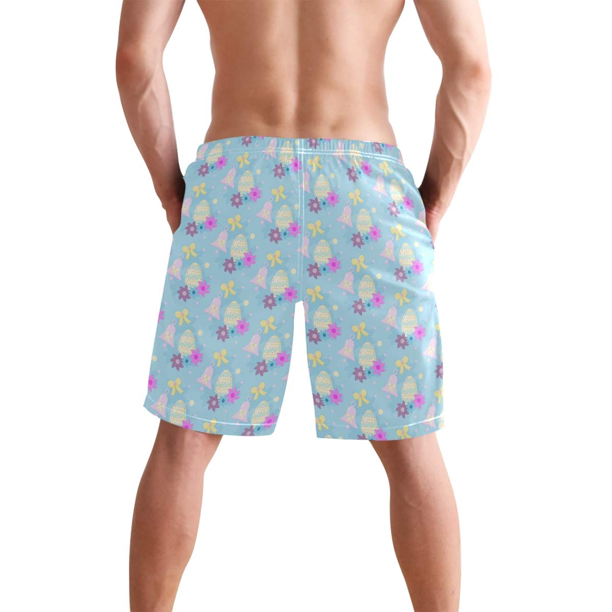 Easter Pattern Egg Butterfly Swim Trunks Quick Dry Casual Polyester Shorts