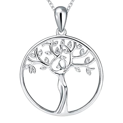 Sterling 925 Silver Charms Tree Of Life Glow Luck Pendant Necklaces Gifts jewelry For Women and family 5Lu6MW