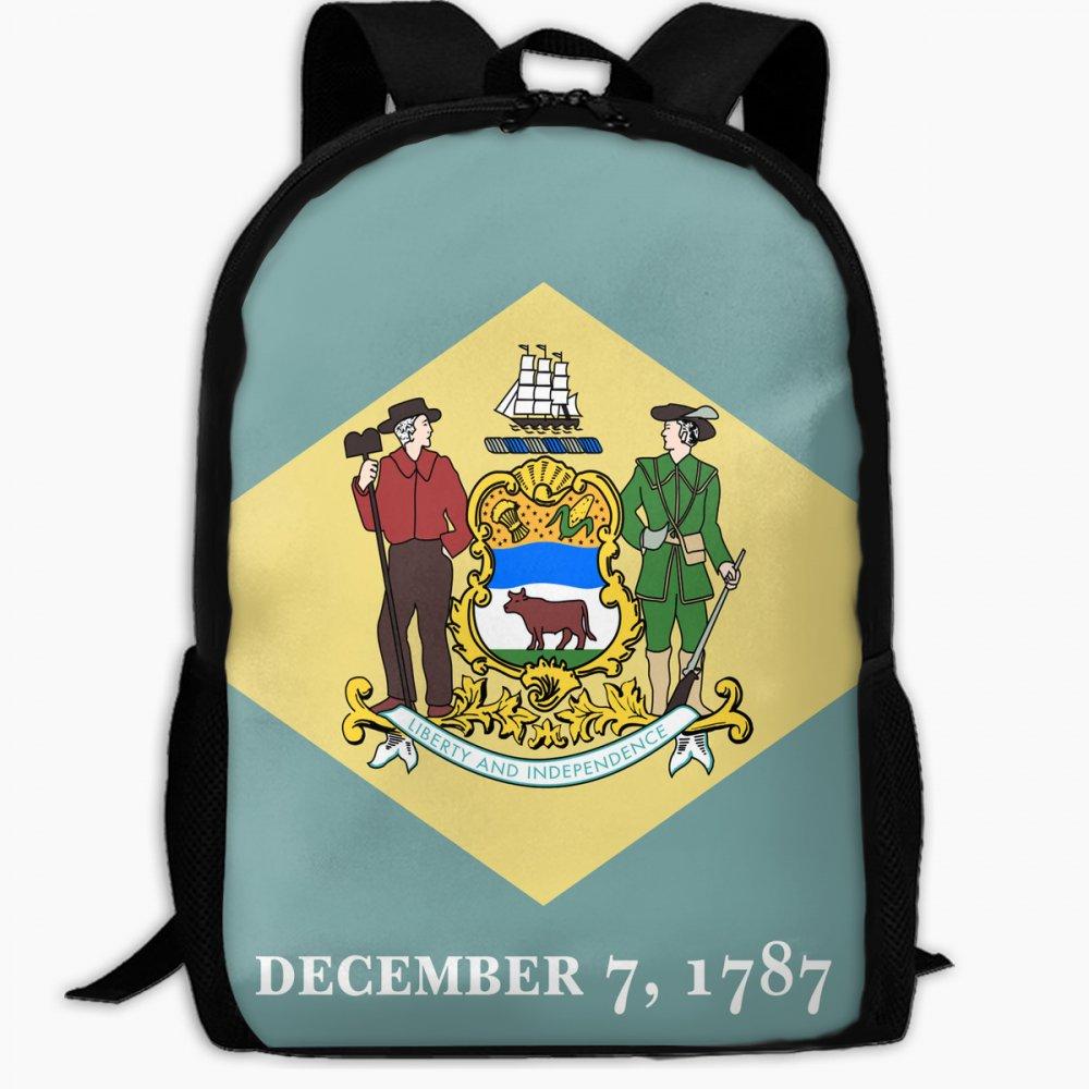 子供の学校バックパックの国旗デラウェアアウトドア旅行バックパック学生バックパックキッズブックバッグユニセックスショルダーDaypack B07FVTB8KK