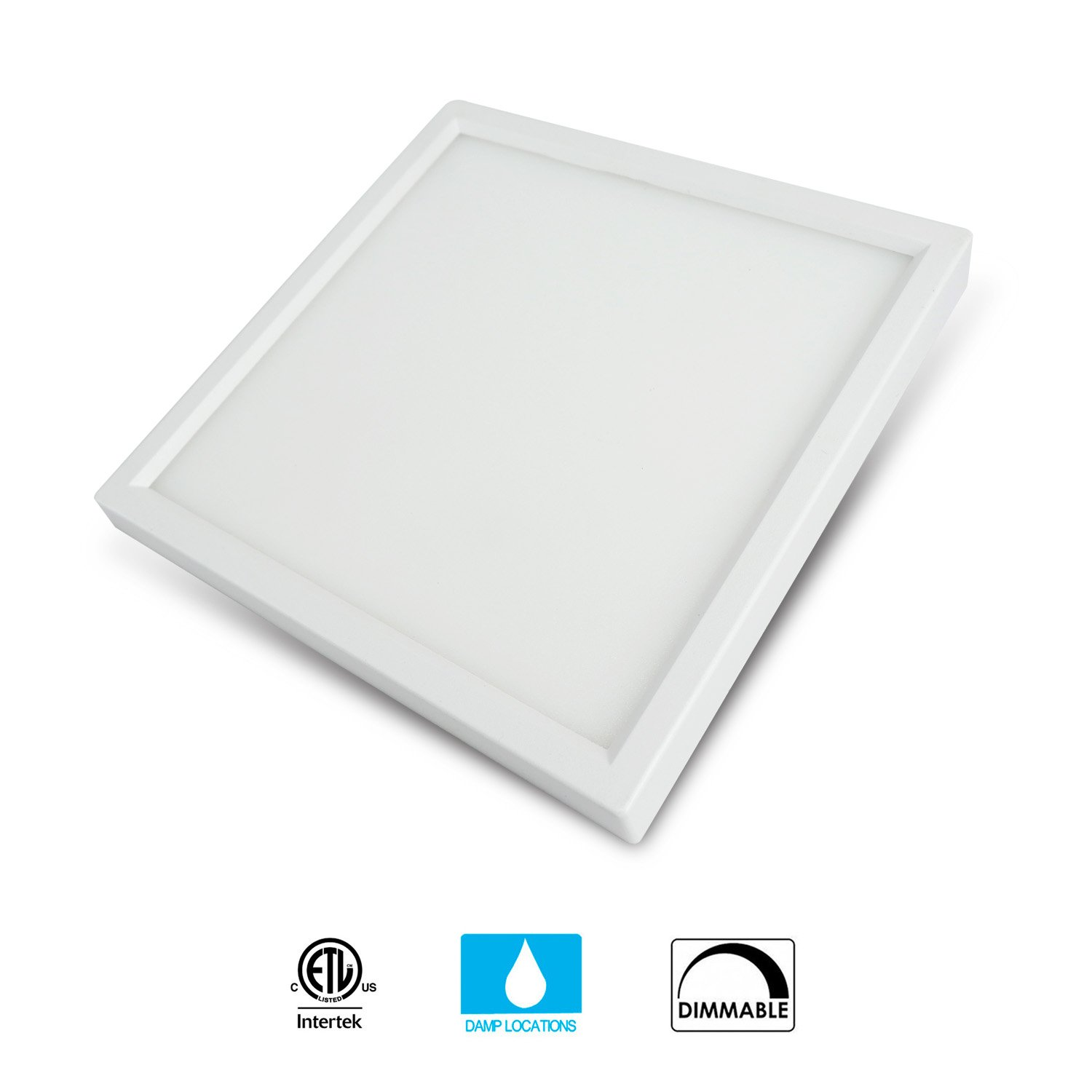 JULLISON 7 inch LED Slim Surface Mount Ceiling Light Fixture, 120V, 15W, 900LM, 3000K Warm White, CRI80, Driverless, ETL Certified, Damp Location, White - Square, 1 Pack