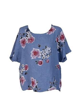 aa2fe532ee New Ladies Italian Linen Floral Sleeveless Crop Top Women Lagenlook Top  Plus Siz (Light Denim)  Amazon.co.uk  Clothing
