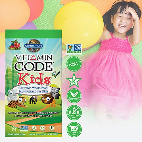Garden of Life Vegetarian Multivitamin Supplement for Kids Vitamin Code Kids Chewable Raw Whole Food Vitamin with Probiotics