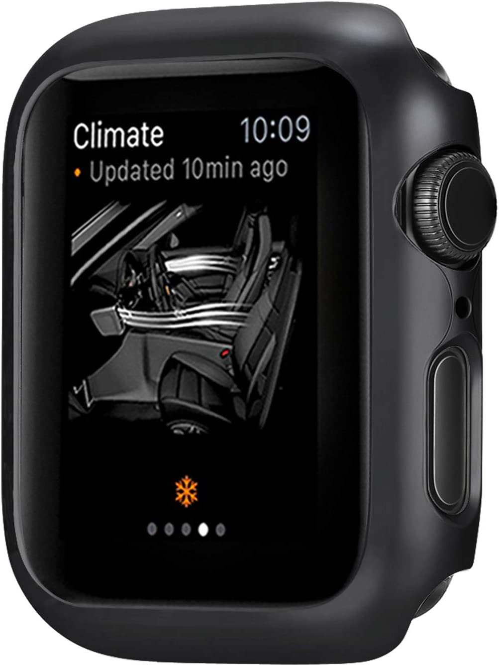 Leotop Compatible with Apple Watch Series 6 5 4 SE Case 44mm 40mm, Super Thin Bumper Protector PC Hard Cover Lightweight Slim Shockproof Accessories Matte Frame Compatible iWatch (Black, 44mm)