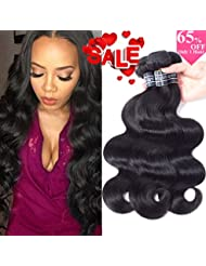 Amella Hair 10A Grade Brazilian Virgin Body Wave Weft 3 Bundles 300g(10 12 14 inch,Natural Black) 100% Unprocessed Brazilian Body Wave Human Hair Weave for Black Women