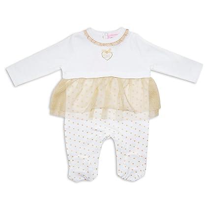 Bebé niñas pijama Pelele Net vestido tutú diseño de estrellas, blanco por Chloe – Louise