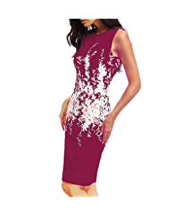 Snowfoller Summer Women Floral Printed Pencil Dress Sexy Sleeveless Vest Slim Casual Office Dress (L, Wine)