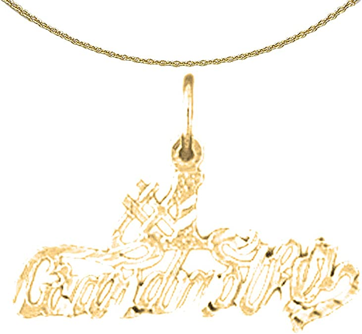 24 mm Jewels Obsession 14K Yellow Gold Perfect Saying Pendant
