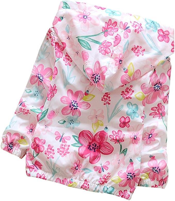 Norbi Kids Baby GirlsFlowers Hooded Windbreaker Jacket Pink