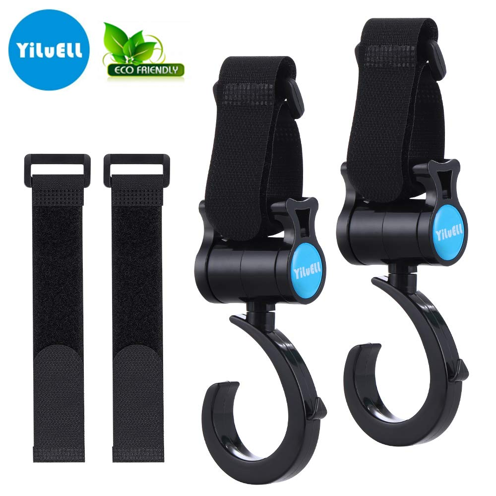 2PCS Upgrade Stroller Hook – with 2PCS Replace Fastening Tape, Easy for Parents – Premium Multi Purpose Hooks by YiLuELL, Black