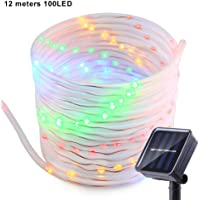 Solar Rope String Lights, meihaomt Waterproof 100 LED 39ft/12M Copper Wire String Lights,Outdoor Tube Fairy String Lights for Christmas Garden Decorative (Multi)