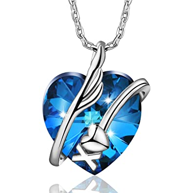 2c516d8a91d50 AEONSLOVE Love Heart Necklace Made with Blue Swarovski Crystals, Pendant  Jewelry Gifts for Women Girls